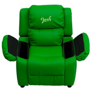 Flash Furniture Kid's Recliner with Storage Dreamweaver Embroiderable Green Vinyl - BT-7985-KID-GRN-EMB-GG