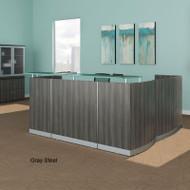 Mayline Medina Reception Station L-Shaped (No Pedestal Files) Gray Steel - MNRS-RET-LGS