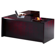 """* MONTHLY SPECIAL! Mayline Corsica Veneer Executive L-Shaped Straight Front Desk 72"""" Sierra Cherry - CT11-CRY"""