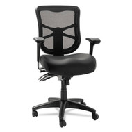 Alera Elusion Series Mesh Mid-Back Multifunction Chair Black Leather - EL4215