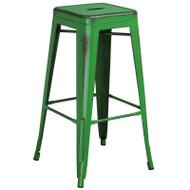 "Flash Furniture Distressed Green Metal Indoor-Outdoor Barstool 30""H - ET-BT3503-30-GN-GG"