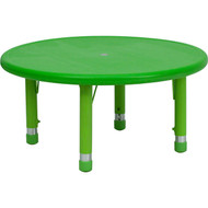 Flash Furniture 33'' Round Height Adjustable Green Plastic Activity Table YU-YCX-007-2-ROUND-TBL-GREEN-GG