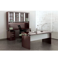 "Mayline Napoli Veneer Series Suite 37 - Executive Desk 63"" with Credenza and Hutch Mahogany - NT37"
