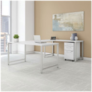 BBF Bush 400 Series U-Shaped Table Desk with 3-Drawer Mobile Pedestal, White - 400S161WH