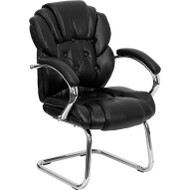 Flash Furniture Black Transitional Side Chair with Padded Arms and Sled Base - GO-908V-BK-SIDE-GG