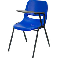 Flash Furniture Blue Plastic Shell-Chair with Left Tablet - RUT-EO1-BL-LTAB-GG