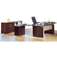 "Mayline Napoli Veneer Series Suite 07 - Executive 63"" Desk with Return on Right and Low Wall Cabinet Mahogany - NT7"