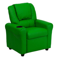 Flash Furniture Kid's Recliner with Cup Holder Green Vinyl - DG-ULT-KID-GRN-GG