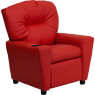 Flash Furniture Contemporary Kid's Recliner with Cup Holder Red Vinyl - BT-7950-KID-RED-GG