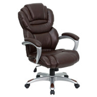 Flash Furniture High Back Brown Leather Executive Office Chair with Leather Padded Loop Arms - GO-901-BN-GG
