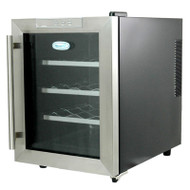 NewAir 12 Bottle Thermoelectric Wine Cooler Black and Silver - AW-121E