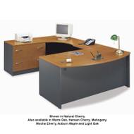 BBF Bush Series C Package Executive U-Shaped Bowfront Desk Natural Cherry - NCPackageG