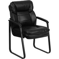 Flash Furniture Black Executive Side Chair with Sled Base - GO-1156-BK-LEA-GG