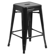 "Flash Furniture Black Metal Indoor-Outdoor Counter Height Stool 24""H - CH-31320-24-BK-GG"