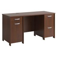 "Bush Envoy Series Double Pedestal Desk 58""W Hansen Cherry - PR76560K"