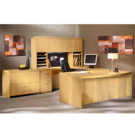 """* MONTHLY SPECIAL! Mayline Aberdeen Executive U-Shaped Desk 66"""" w/Wood Door Hutch Package Maple - AT41-LMA"""