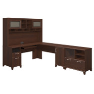 Bush Achieve L-Shaped Computer Desk with Hutch and Lateral File / Printer Stand Sweet Cherry Finish - ACH004SC
