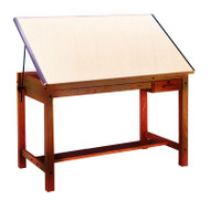 Mayline Wood Four-Post Drafting Table with Tool and Shallow Drawers 60 - 7706B