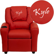 Flash Furniture Kid's Recliner with Cup Holder Red Vinyl Dreamweaver Embroiderable - DG-ULT-KID-RED-EMB-GG