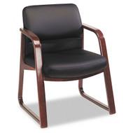 HON 2900 Series Guest Chair w/Arms Black Vinyl Mahogany Finish - 2903NEE11