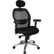 Flash Furniture High-Back Super Mesh Office Chair with Black Fabric Seat and Knee Tilt Control - LF-W42-HR-GG