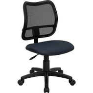 Flash Furniture Mid Back Mesh Task Chair with Navy Blue Fabric Seat and Arms - WL-A277-NVY-A-GG