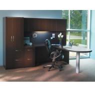 * MONTHLY SPECIAL! Mayline Aberdeen Executive L-Shaped Peninsula Desk Package Mocha - AT22