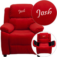 Flash Furniture Kid's Recliner with Storage Dreamweaver Embroiderable Red Microfiber - BT-7985-KID-MIC-RED-EMB-GG