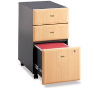 BBF Bush Series A 3-Drawer Mobile File Cabinet in Beech Assembled - WC14353PSU