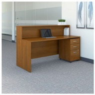 "BBF Bush Series C Reception Desk with 3-Drawer Mobile Pedestal Warm Oak 72""W x 30""D - SRC096WOSU"