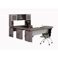 "Mayline Medina Laminate Executive 72"" Desk U-Shaped Package Right Gray Steel - MNT31-LGS"
