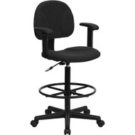 Flash Furniture Fabric Ergonomic Drafting Stool with Arms Black Pattern - BT-659-BLK-ARMS-GG