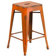 "Flash Furniture Distressed Orange Metal Indoor-Outdoor Counter Height Stool 24""H - ET-BT3503-24-OR-GG"