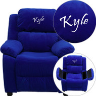 Flash Furniture Kid's Recliner with Storage Dreamweaver Embroiderable Blue Microfiber - BT-7985-KID-MIC-BLUE-EMB-GG