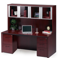 """* MONTHLY SPECIAL! Mayline Corsica Veneer Executive Credenza and Glass Doors Hutch 72"""" Sierra Cherry - CT16-CRY"""
