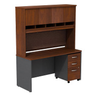 "BBF Bush Series C Package Desk with Hutch and Mobile File Cabinet in Hansen Cherry 60""W x 24""D - SRC014HCSU"