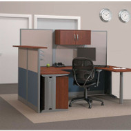 Bush Office-in-an-Hour U-Shaped Desk Workstation with Reception Counter Package - WC36496-03STGK-R