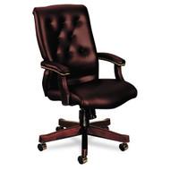HON Traditional Wood Seating 6540 Series Executive High-Back Vinyl Swivel Chair - 6541NEJ65
