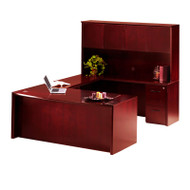 """* MONTHLY SPECIAL! Mayline Corsica Veneer Executive U-Shaped Bow Front Desk with Wood Doors Hutch 72"""" Sierra Cherry - CT2-CRY"""