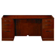 "Mayline Sorrento Double Pedestal Credenza 72"" with Two Pencil/Box/File Pedestals Bourbon Cherry - SCBB72-SCR"