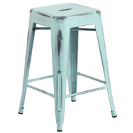 """Flash Furniture Distressed Green-Blue Metal Indoor-Outdoor Counter Height Stool 24""""H - ET-BT3503-24-DB-GG"""