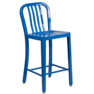 "Flash Furniture Blue Metal Indoor-Outdoor Counter Height Stool 24""H (2-Pack) - CH-61200-24-BL-GG"