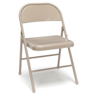 OFM Essentials Metal Folding Chairs, Antique Linen (4-Pack) - ESS-8200-ALN