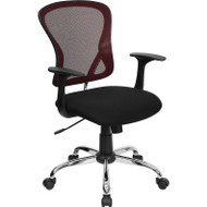Flash Furniture Mid-Back Burgundy Mesh Office Chair with Chrome Finished Base - H-8369F-BG-GG