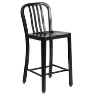 "Flash Furniture Black Metal Indoor-Outdoor Counter Height Stool 24""H (2-Pack) - CH-61200-24-BK-GG"