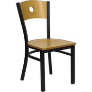 Flash Furniture Circle Back Metal Restaurant Chair with Natural Wood Seat and Back - XU-DG-6F2B-CIR-NATW-GG