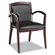 Alera Reception Lounge Series Guest Chair Mahogany / Black Leather - RL43BLS10M
