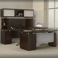 * MONTHLY SPECIAL! Mayline Sterling Executive U-Shaped Desk 72 with two Pedestals Textured Mocha - STL40H3-TDC