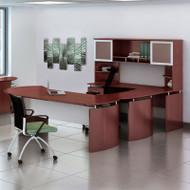 "* MONTHLY SPECIAL! Mayline Medina Laminate Executive 72"" Desk U-Shaped Package Left Mahogany - MNT32-LMH"