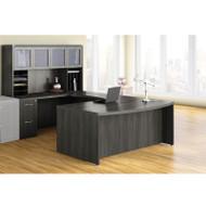 Mayline Aberdeen Executive U-Shaped Desk 72 w/Glass Door Hutch Package Gray Steel - AT91-LGS